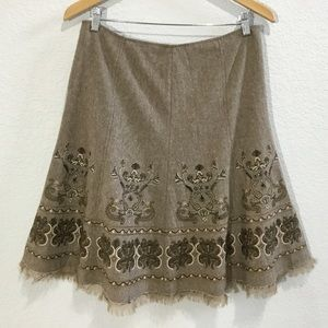 (EC) Nygard Collection A-line embroidered skirt